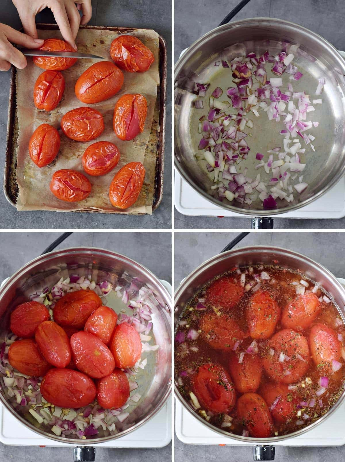4 step-by-step photos showing how to prep tomato soup