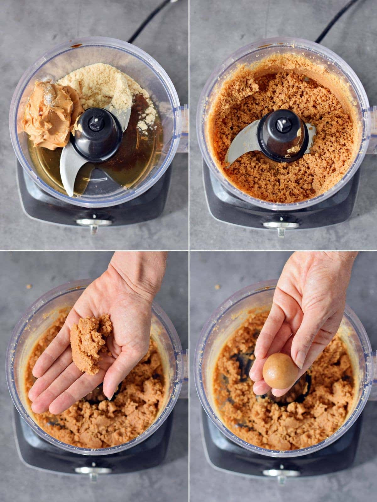 4 step-by-step photos showing how to process batter for PB balls