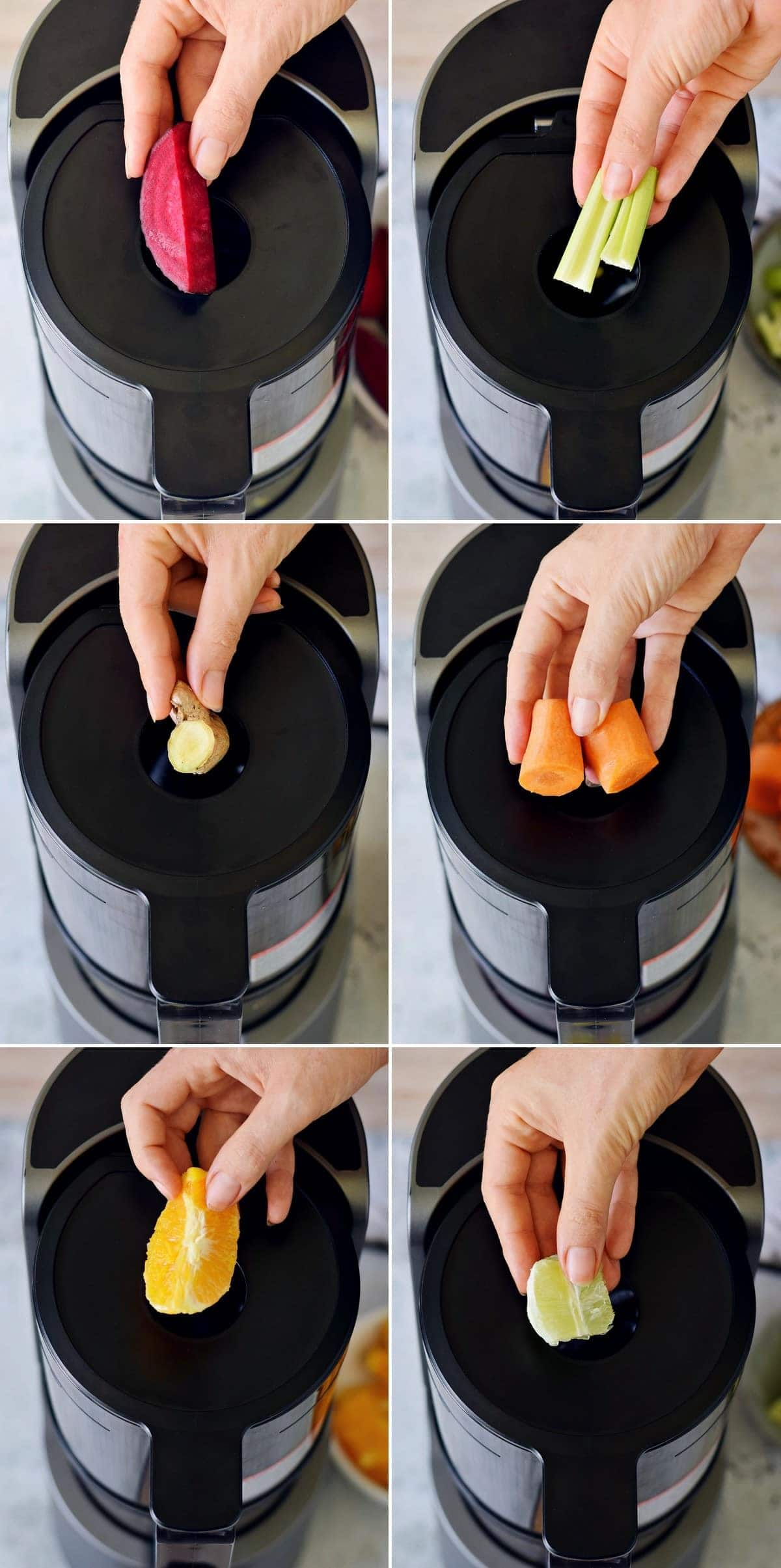 6 step-by-step photos showing how to juice veggies and fruit