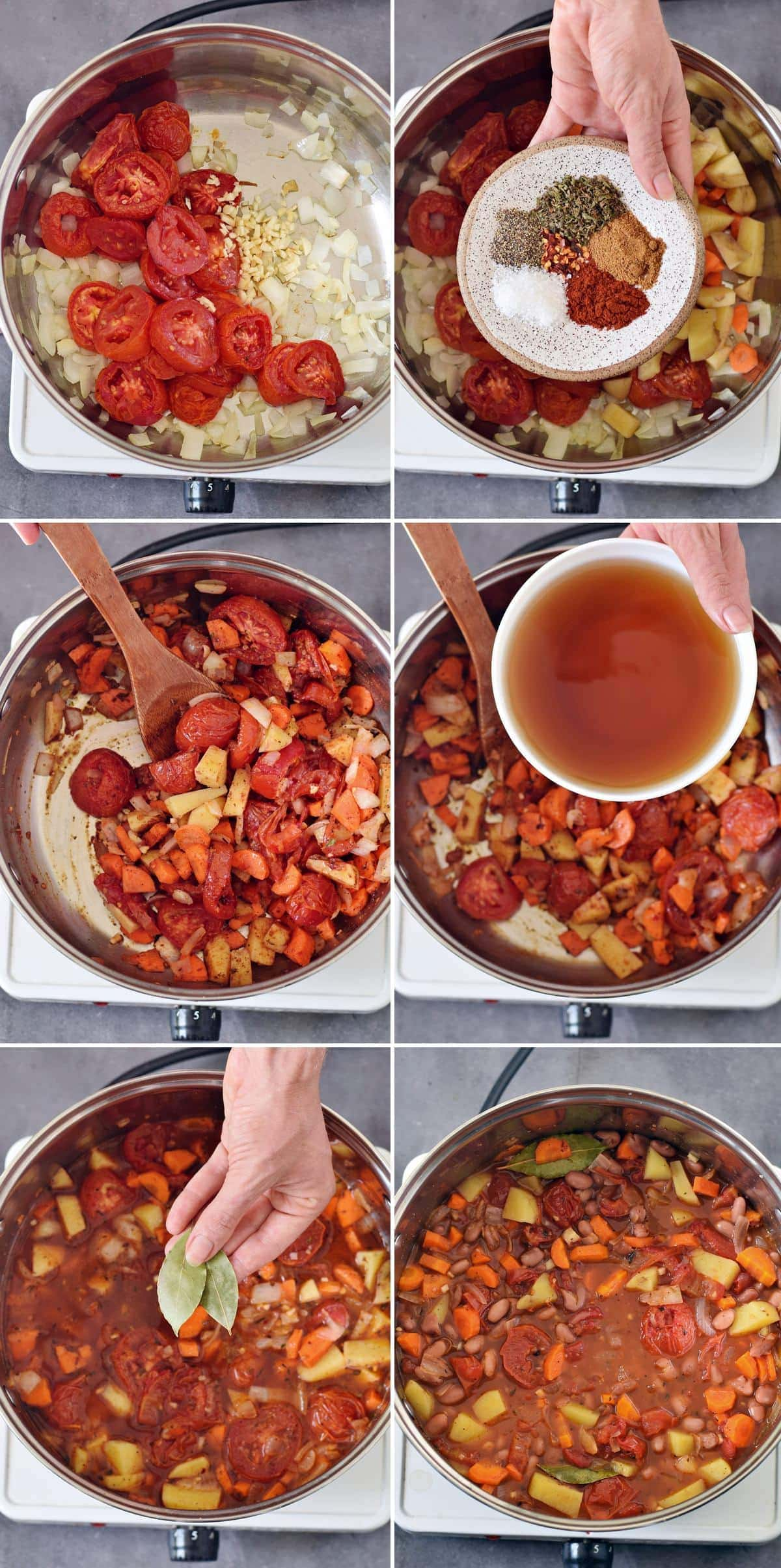 6 step-by-step photos showing how to make a stew with beans