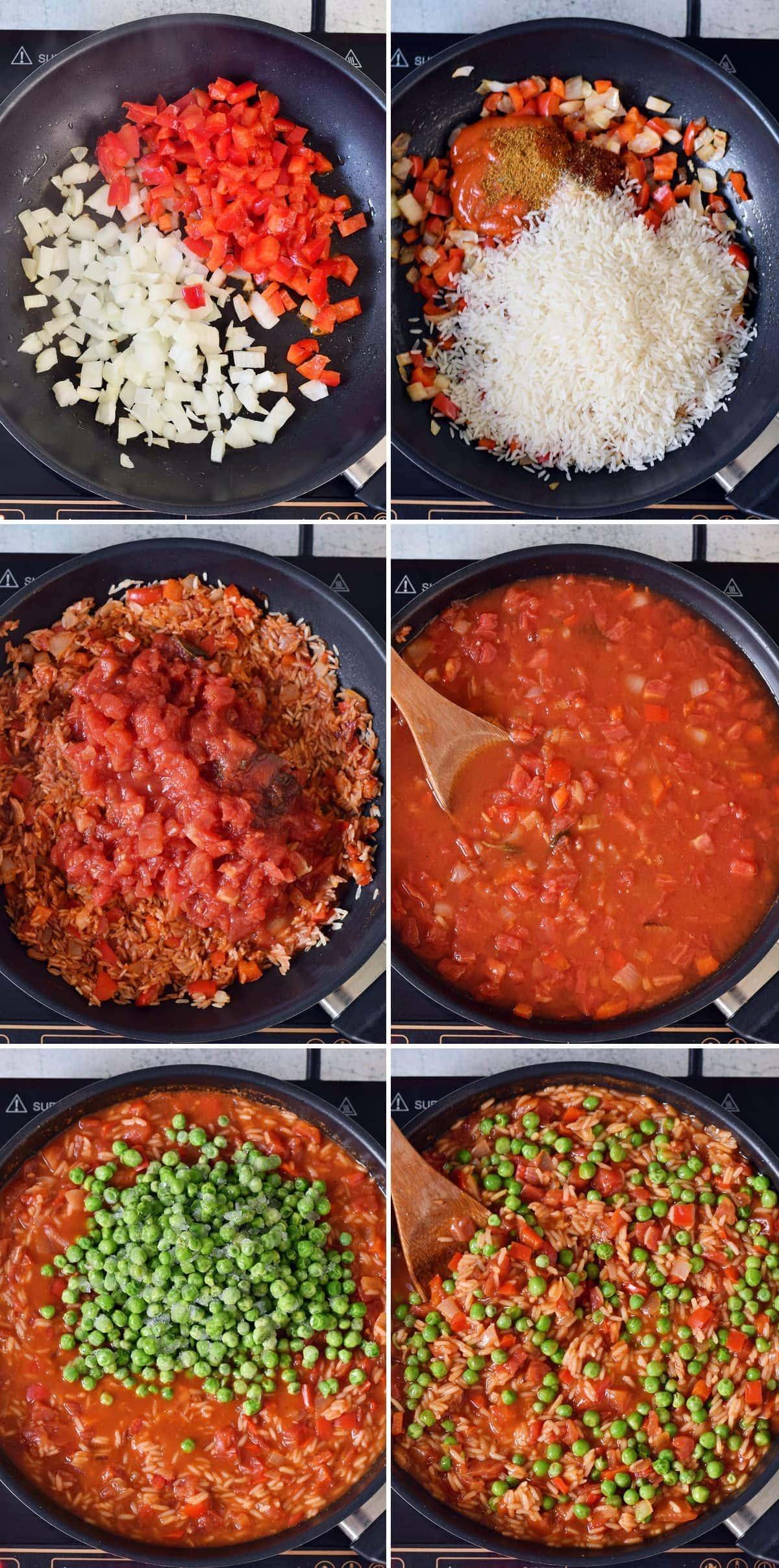 6 Schritt-für-Schritt-Fotos, die die Herstellung von Djuvec Reis zeigen