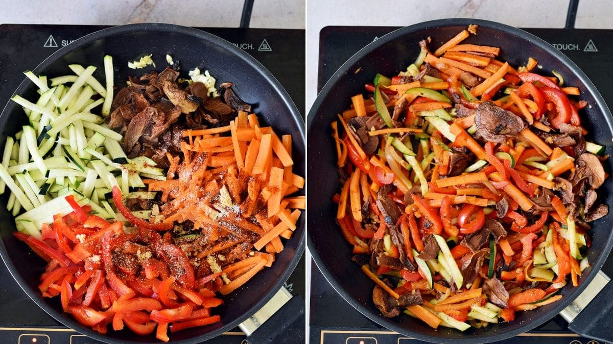 2 step-by-step photos showing how to pan-fry veggies