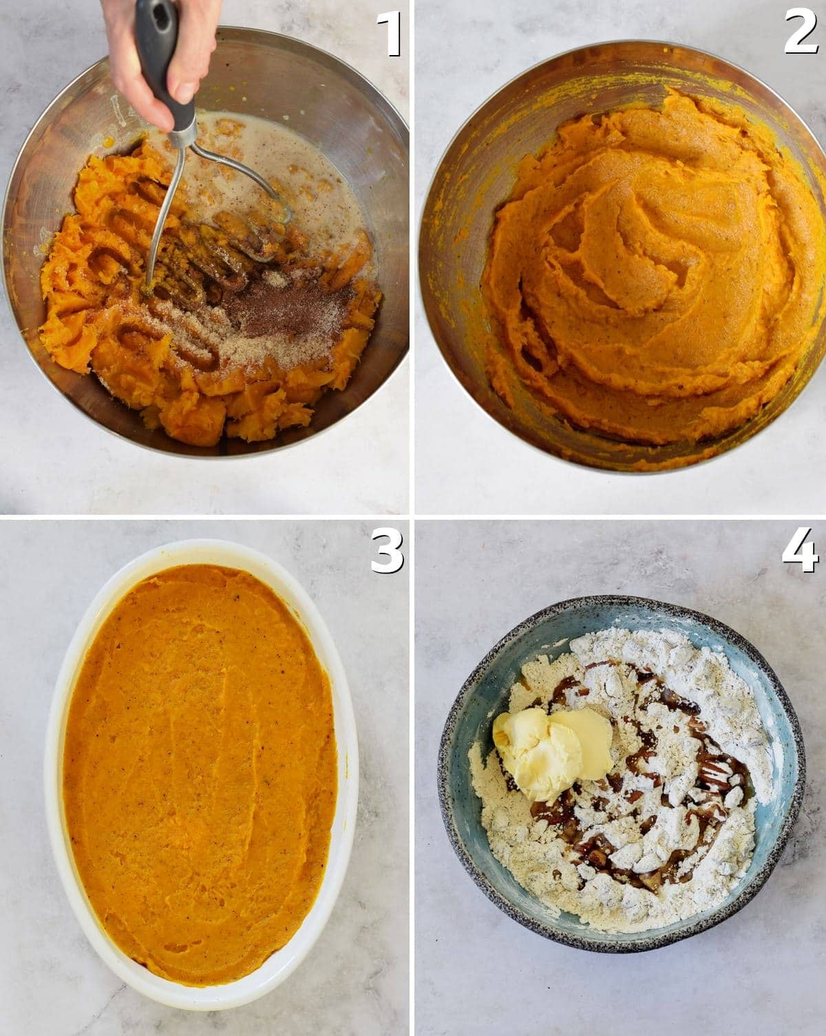 4 step-by-step photos how to make a holiday bake with sweet potatoes