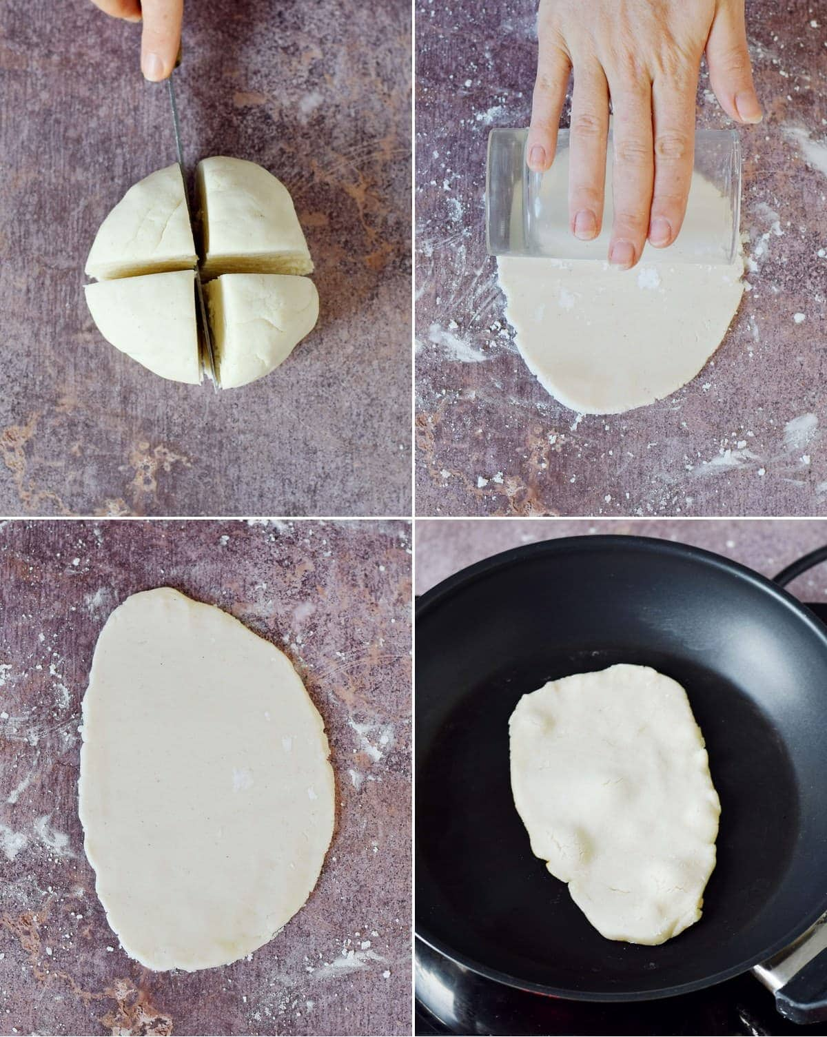4 step-by-step photos how to roll out dough for flatbread