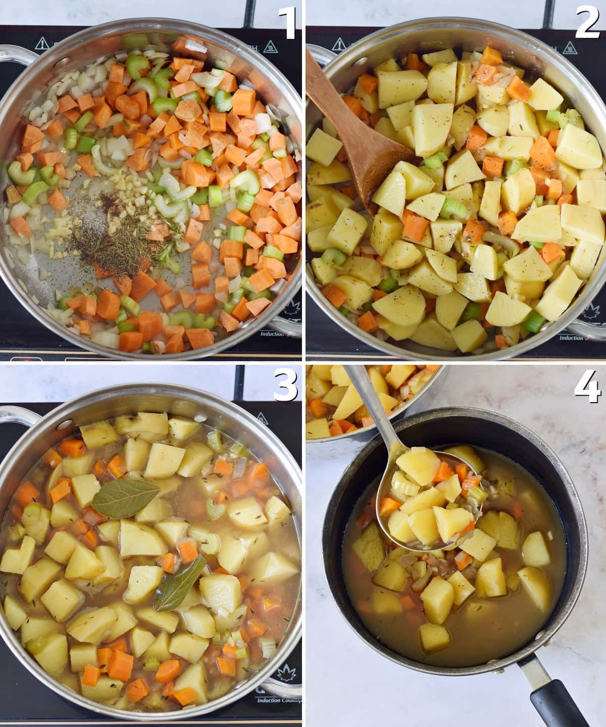 4 step-by-step photos of how to cook a stew with potatoes and veggies