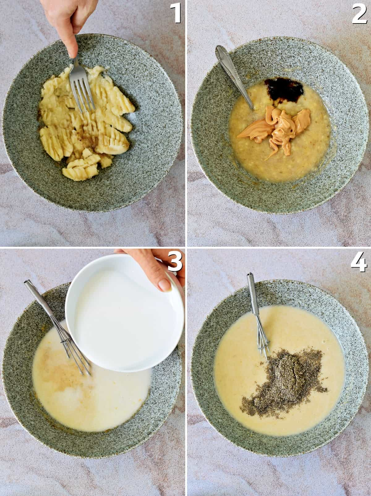 4 step-by-step photos showing how to make banana peanut butter batter