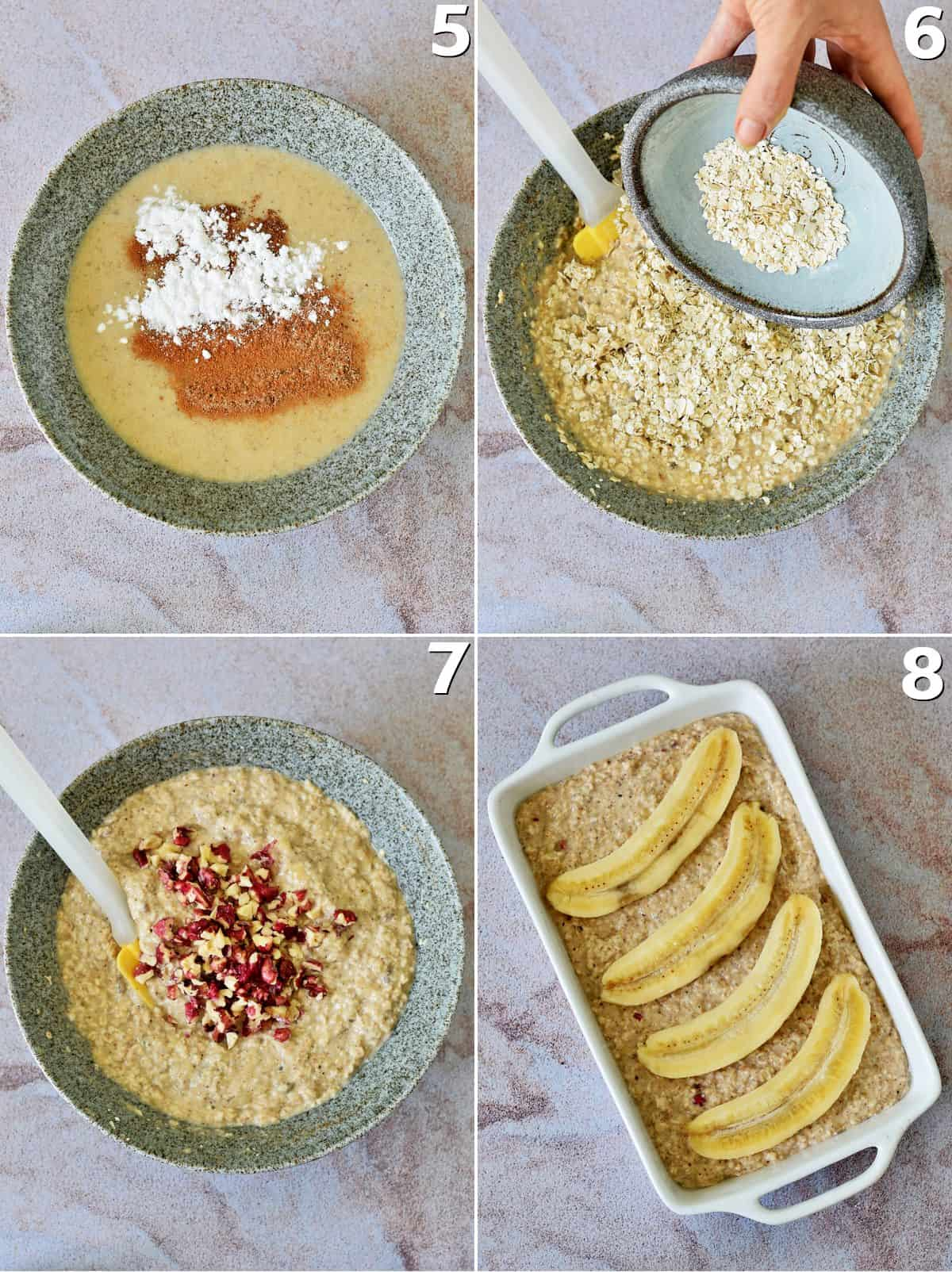 4 step-by-step photos showing how to make oatmeal casserole