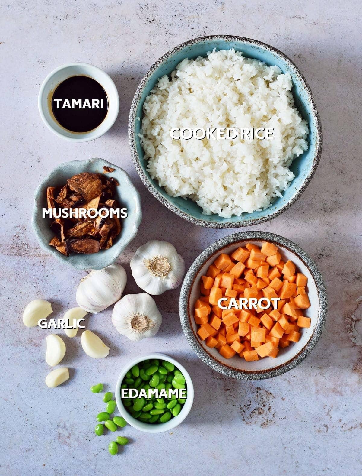 Ingredients for garlic fried rice