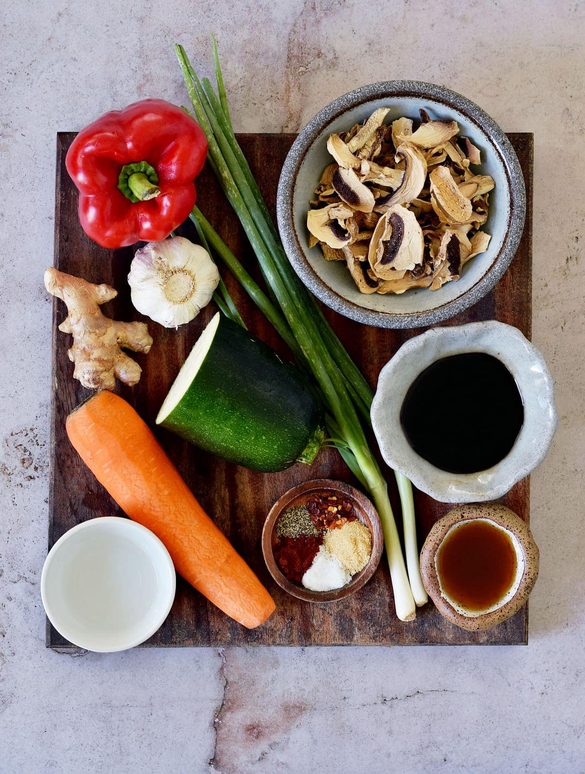 ingredients for asian vegetable stir-fry