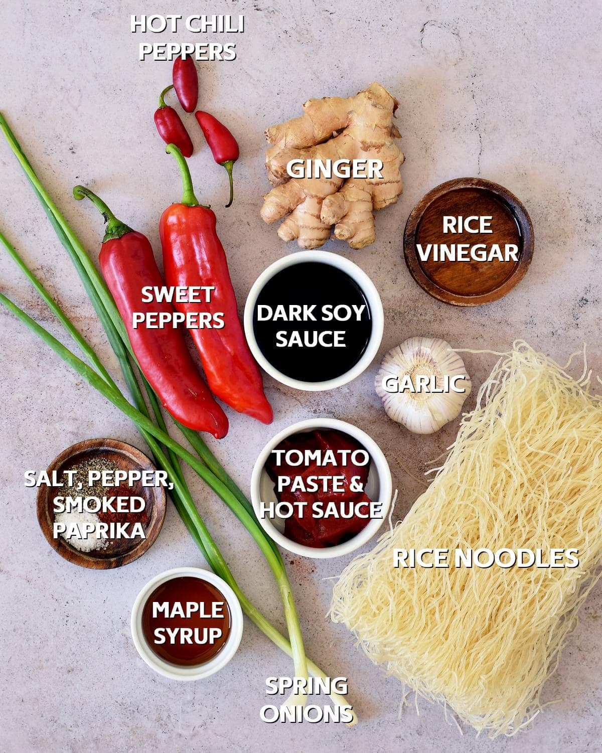 ingredients for Asian noodle stir-fry