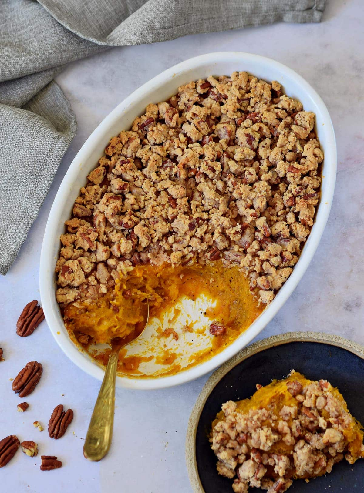 vegan Thanksgiving casserole with sweet potatoes