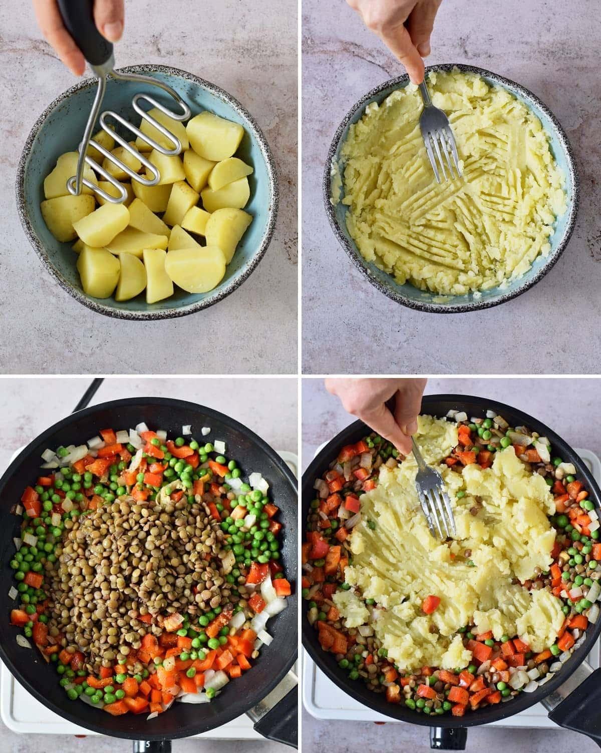 4 Schritt-für-Schritt-Fotos von der Herstellung einer veganen Empanada-Füllung