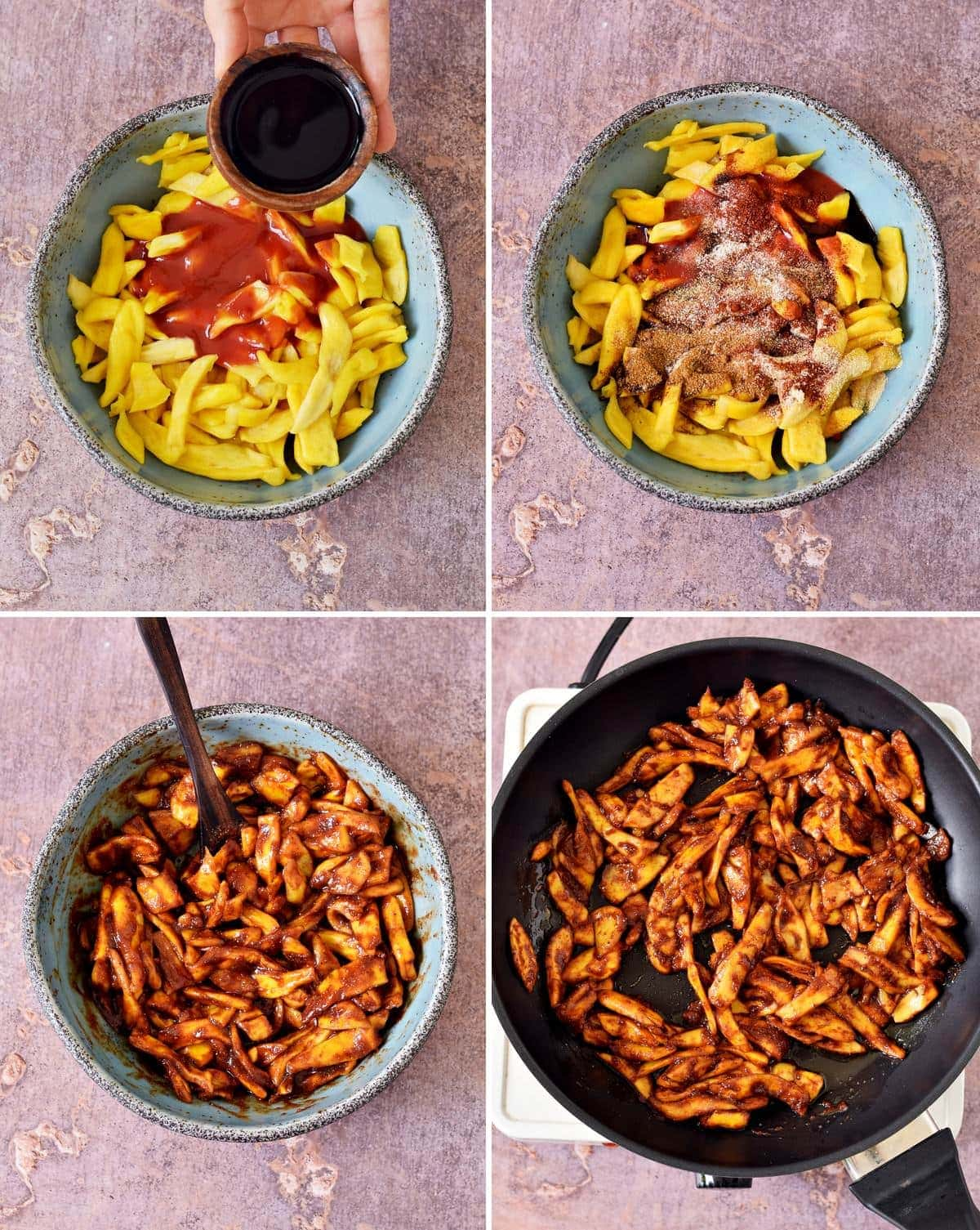 4 step-by-step photos how to marinate jackfruit