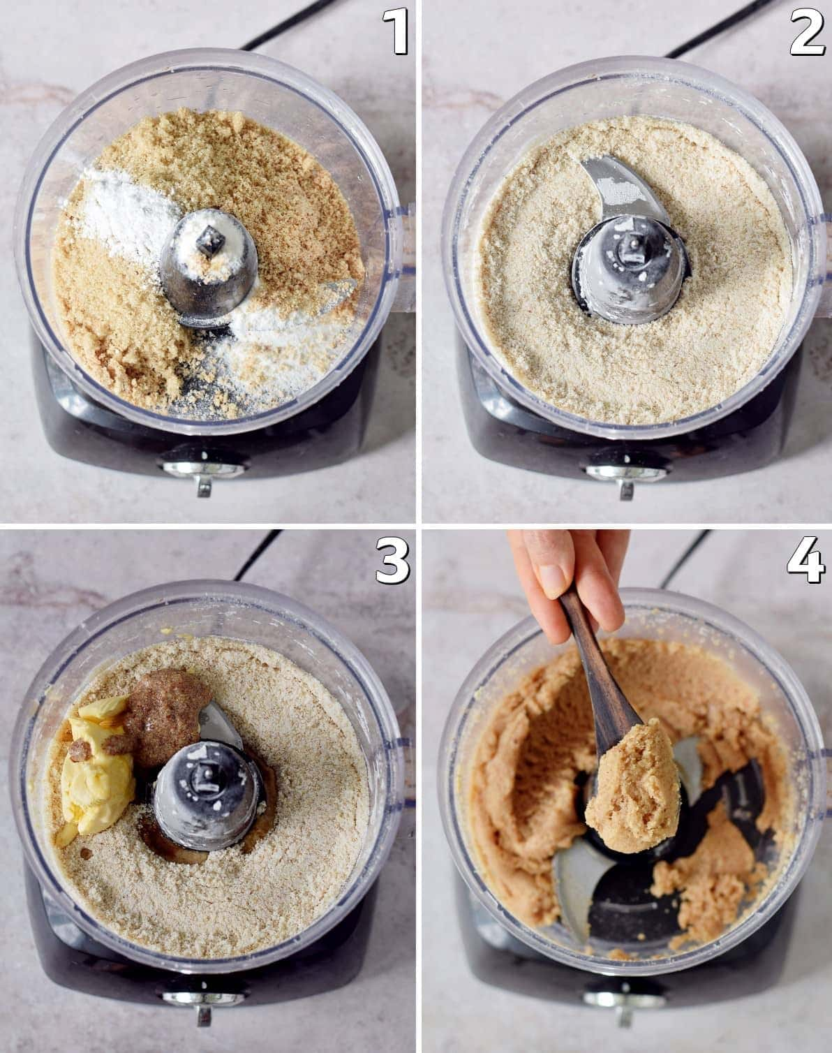 4 step-by-step photos of how to make cookie dough