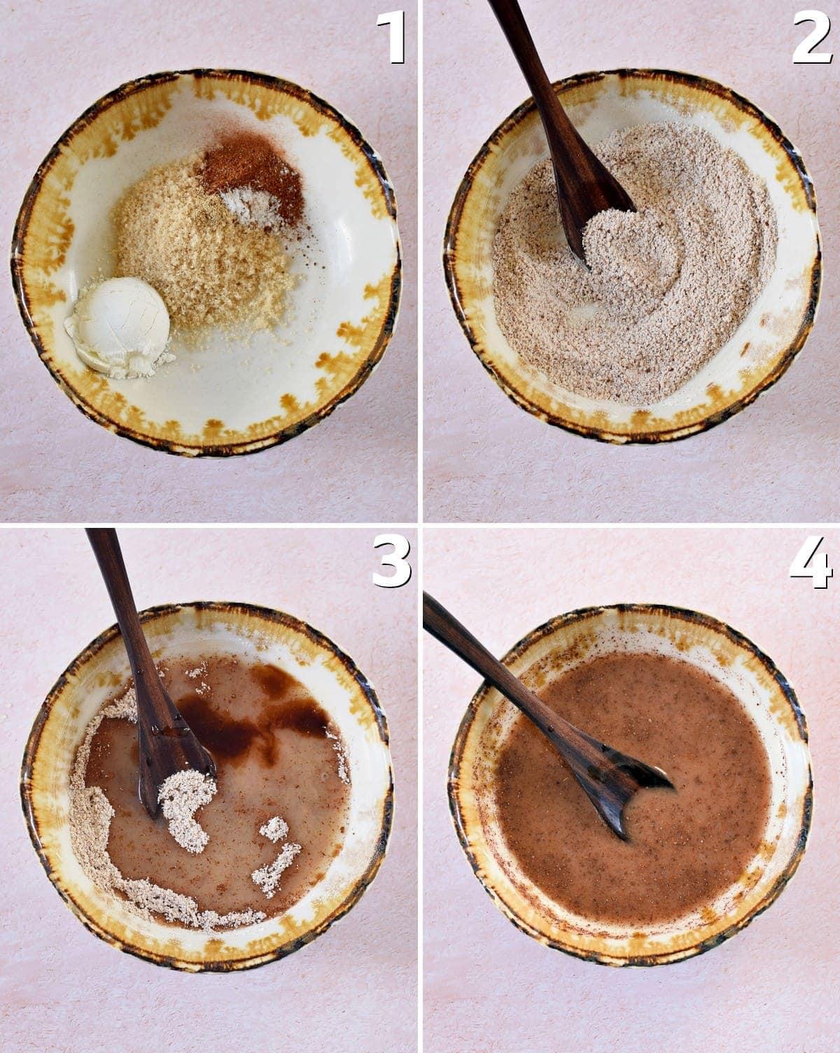 4 Schritt-für-Schritt-Fotos, wie man die Füllung für einen Dessert mit Äpfeln und Streuseln herstellt