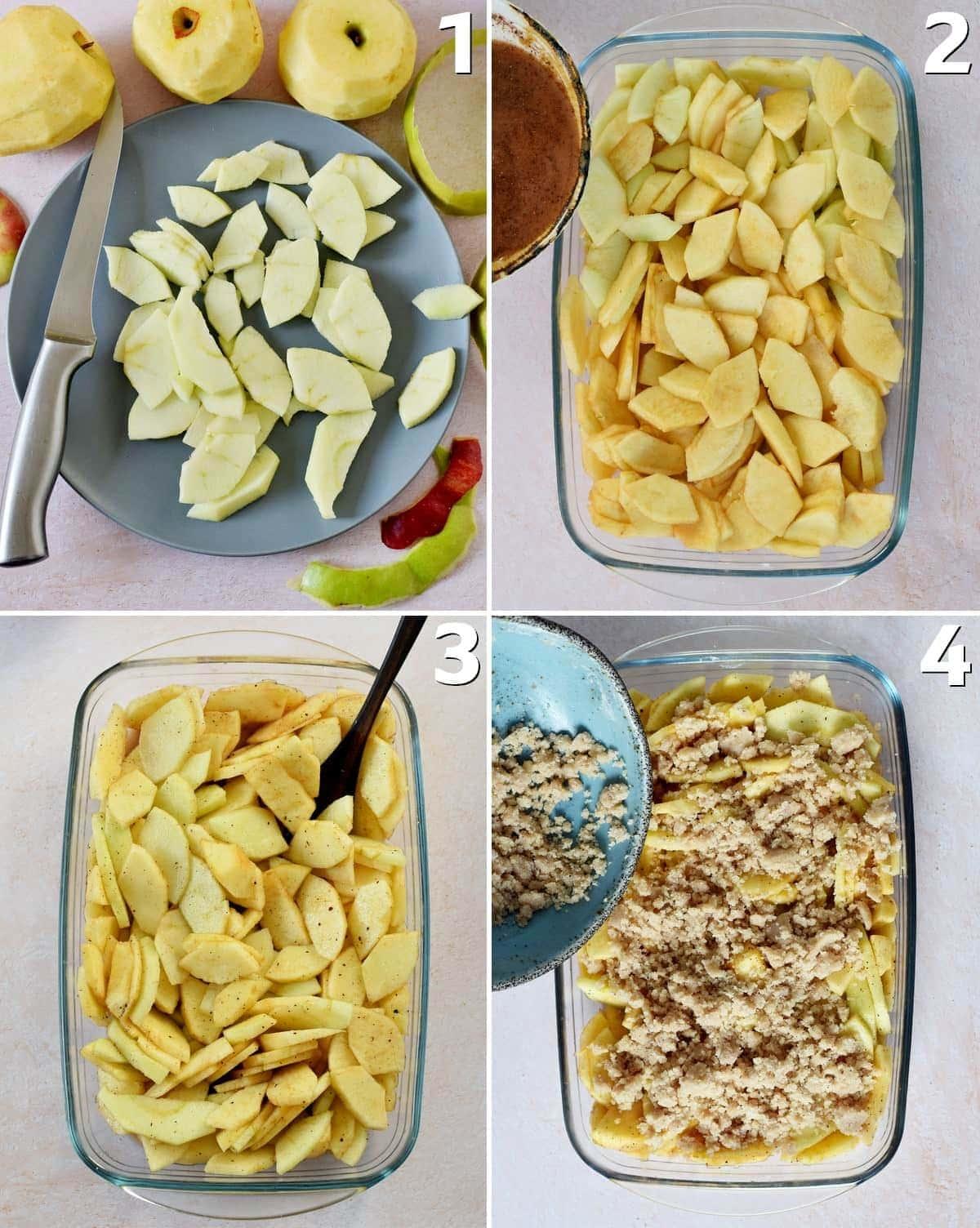 4 Schritt-für-Schritt-Fotos der Zubereitung von einem Apfelauflauf mit Streuseln
