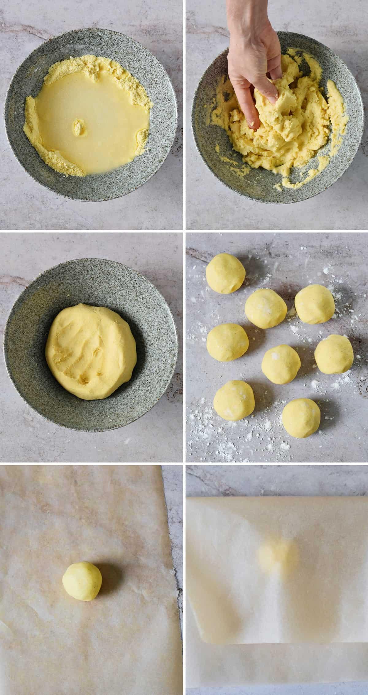 6 Schritt-für-Schritt-Fotos von der Herstellung von Empanada Teig aus vorgekochtem Maismehl