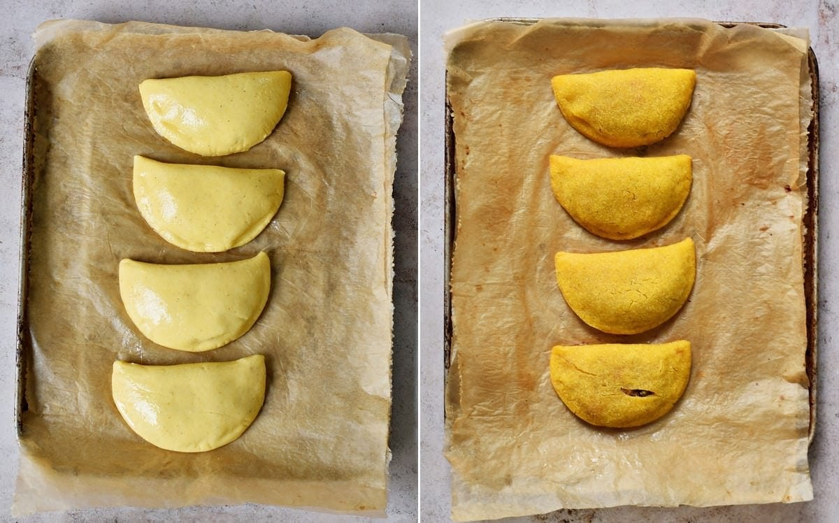 oven-baked empanadas before and after