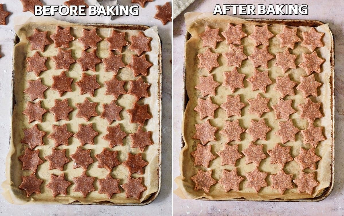 star shaped German Christmas Cookies before and after baking