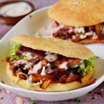vegan kebab sandwiches with jackfruit and veggies