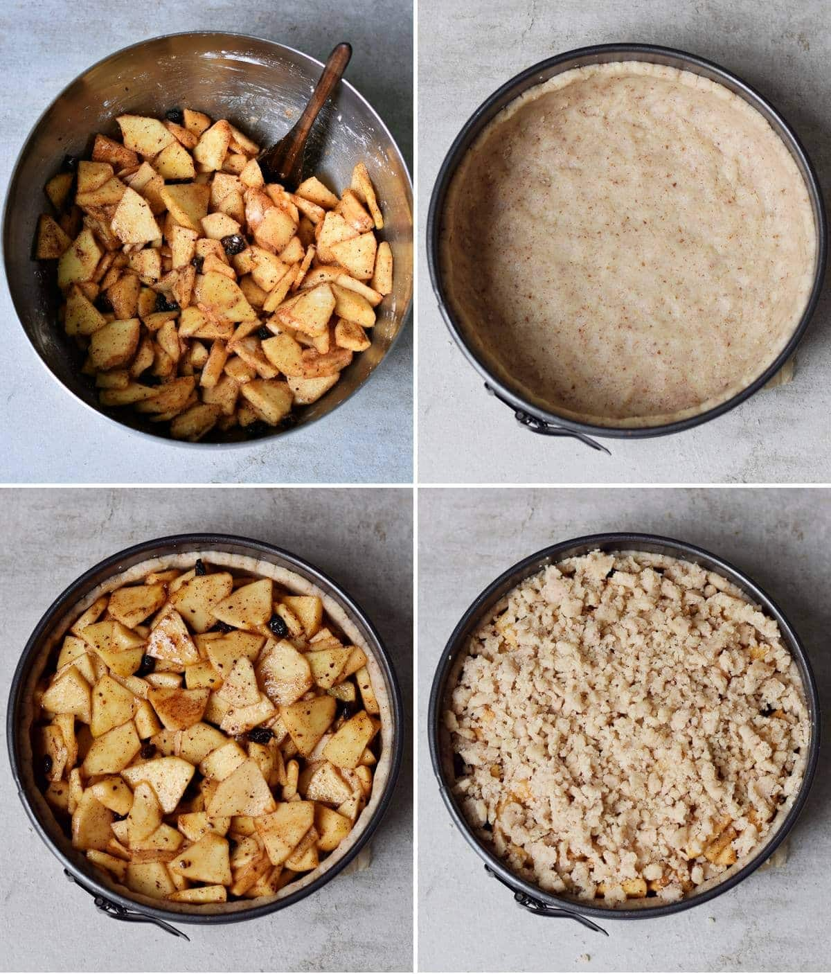 4 step-by-step photos how to make a dairy-free pie with apples