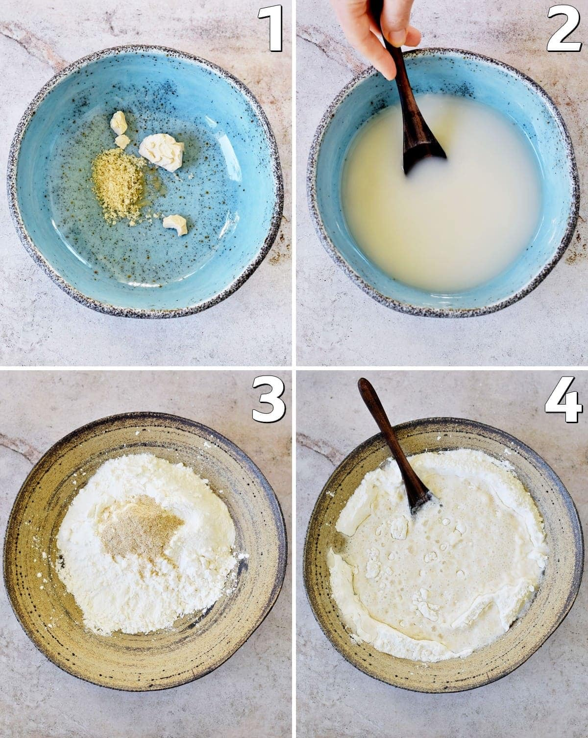 4 step-by-step photos how to make a gluten-free dough with yeast