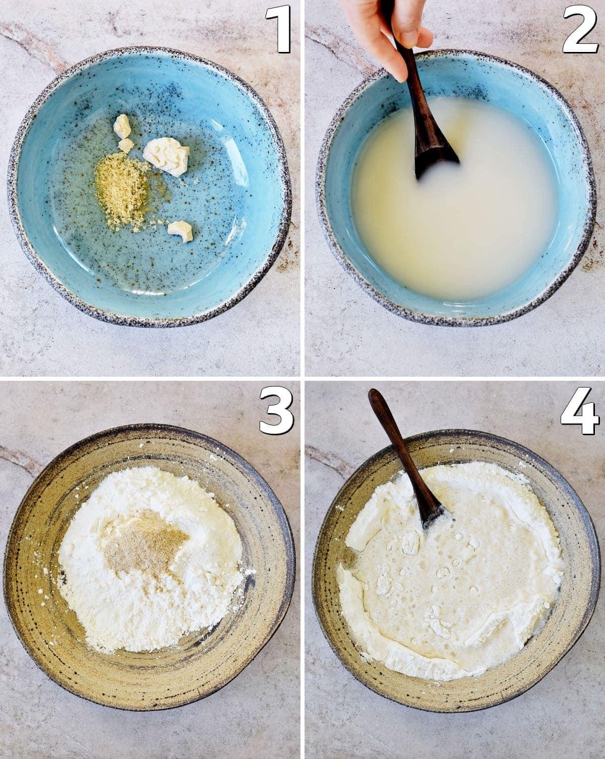 4 Schrittfotos von der Herstellung von Hefeteig