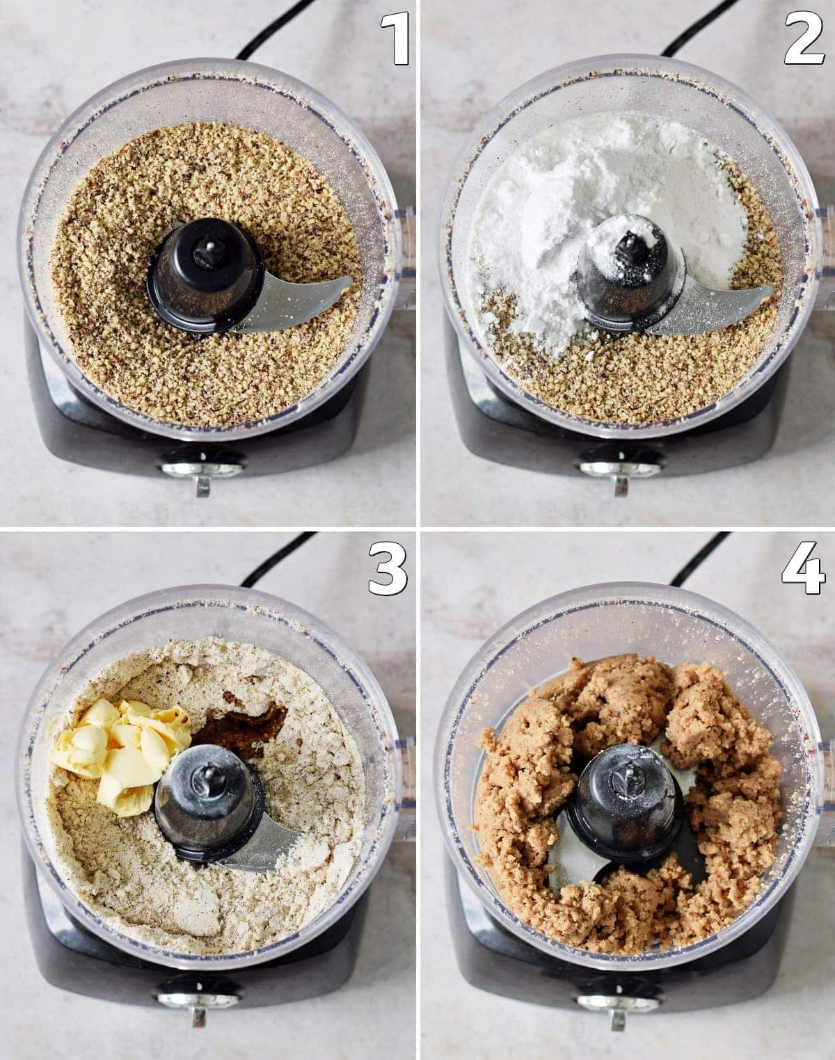 4 step-by-step photos how to make cookie dough with hazelnuts