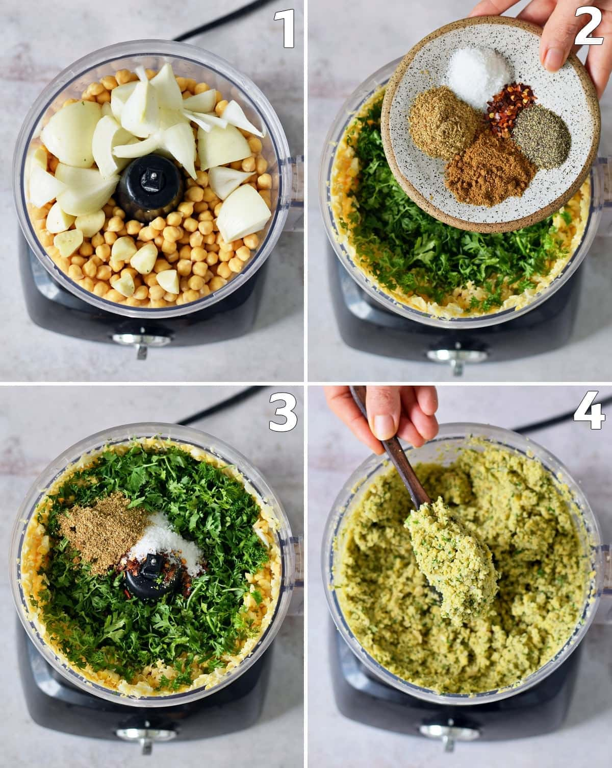 4 step-by-step photos how to make falafels in a food processor