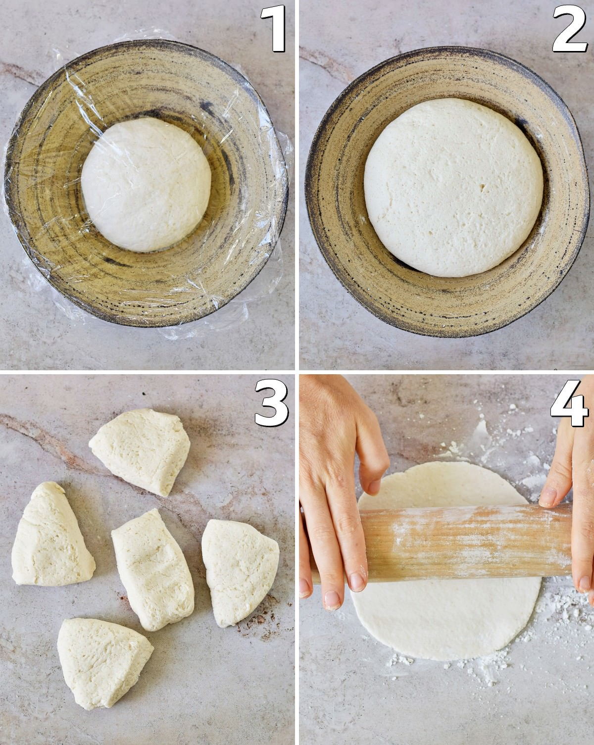 4 step-by-step photos how to make pita