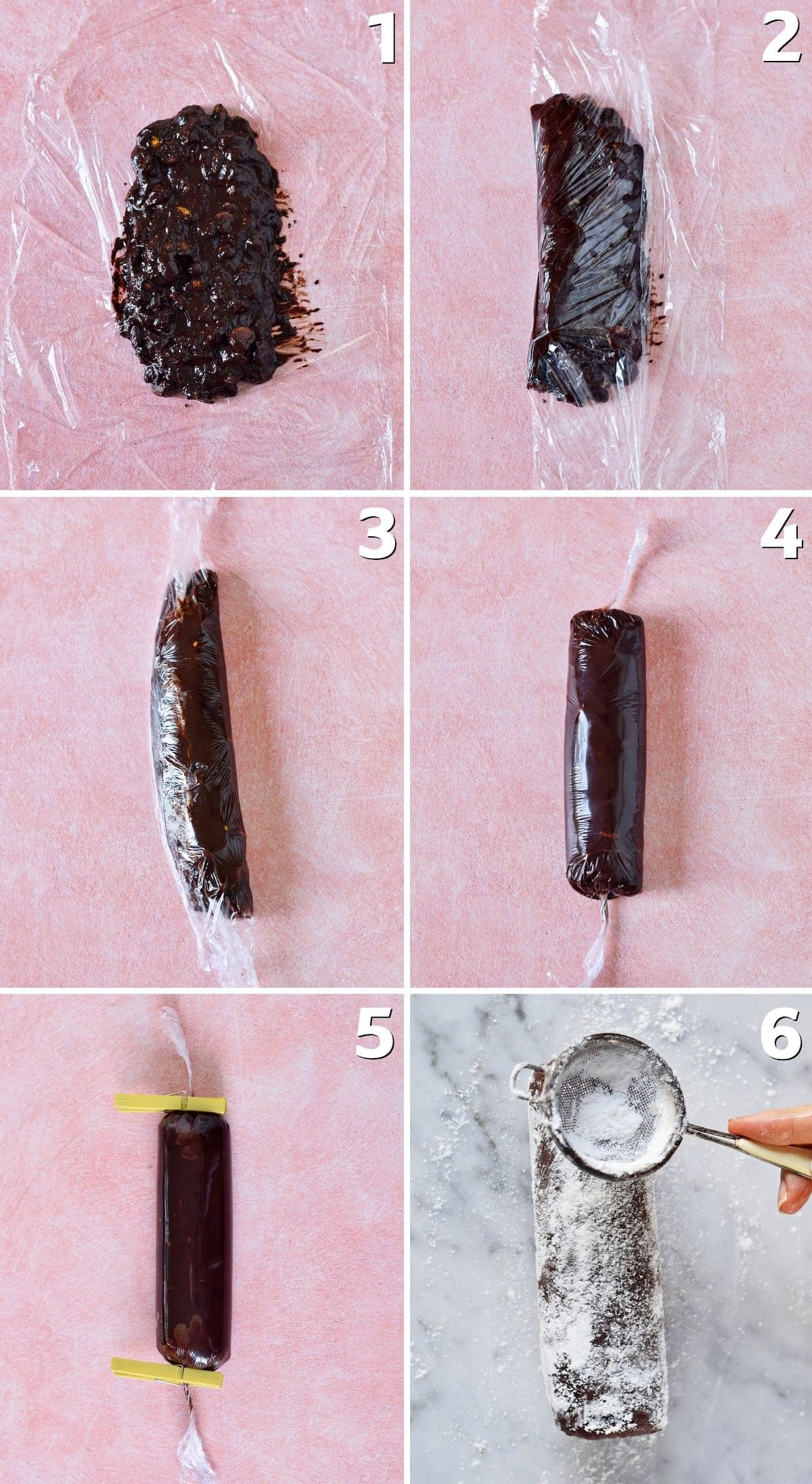 6 step-by-step photos of making chocolate salami