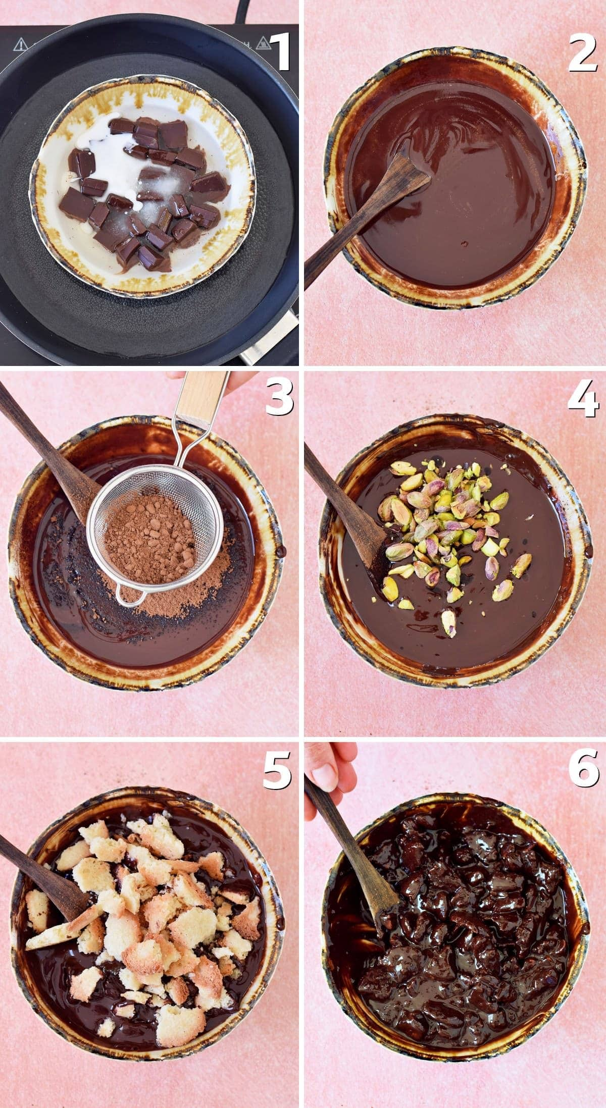 6 step-by-step photos of making salame di cioccolato
