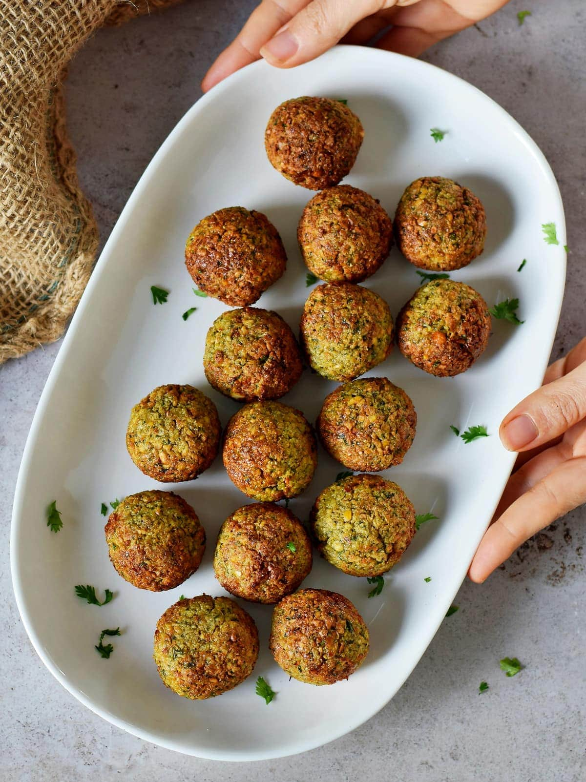 air fried falafels on white plate