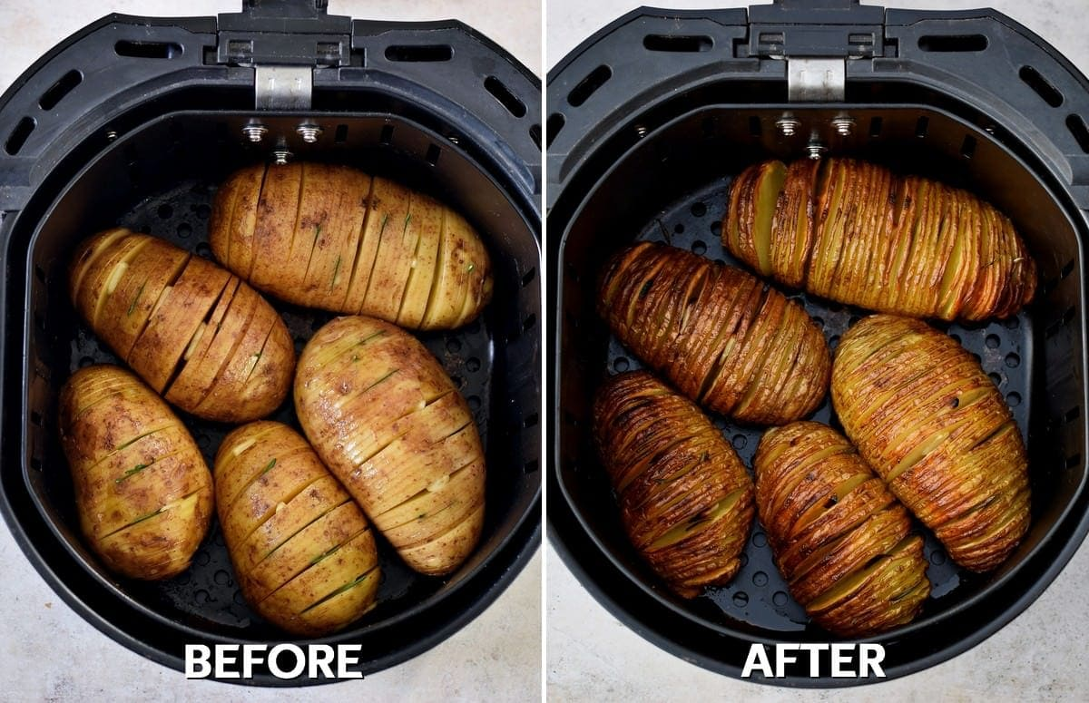 air fryer hasselback potatoes before and after