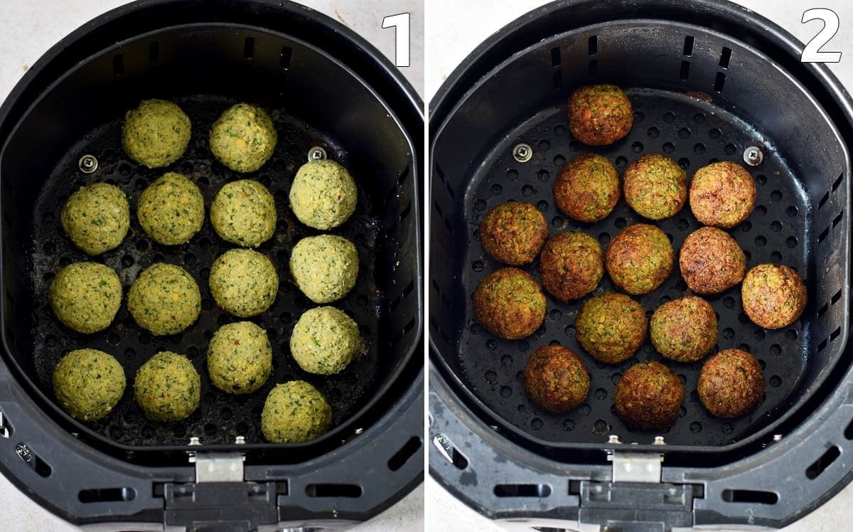 before and after photo of air fryer falafel