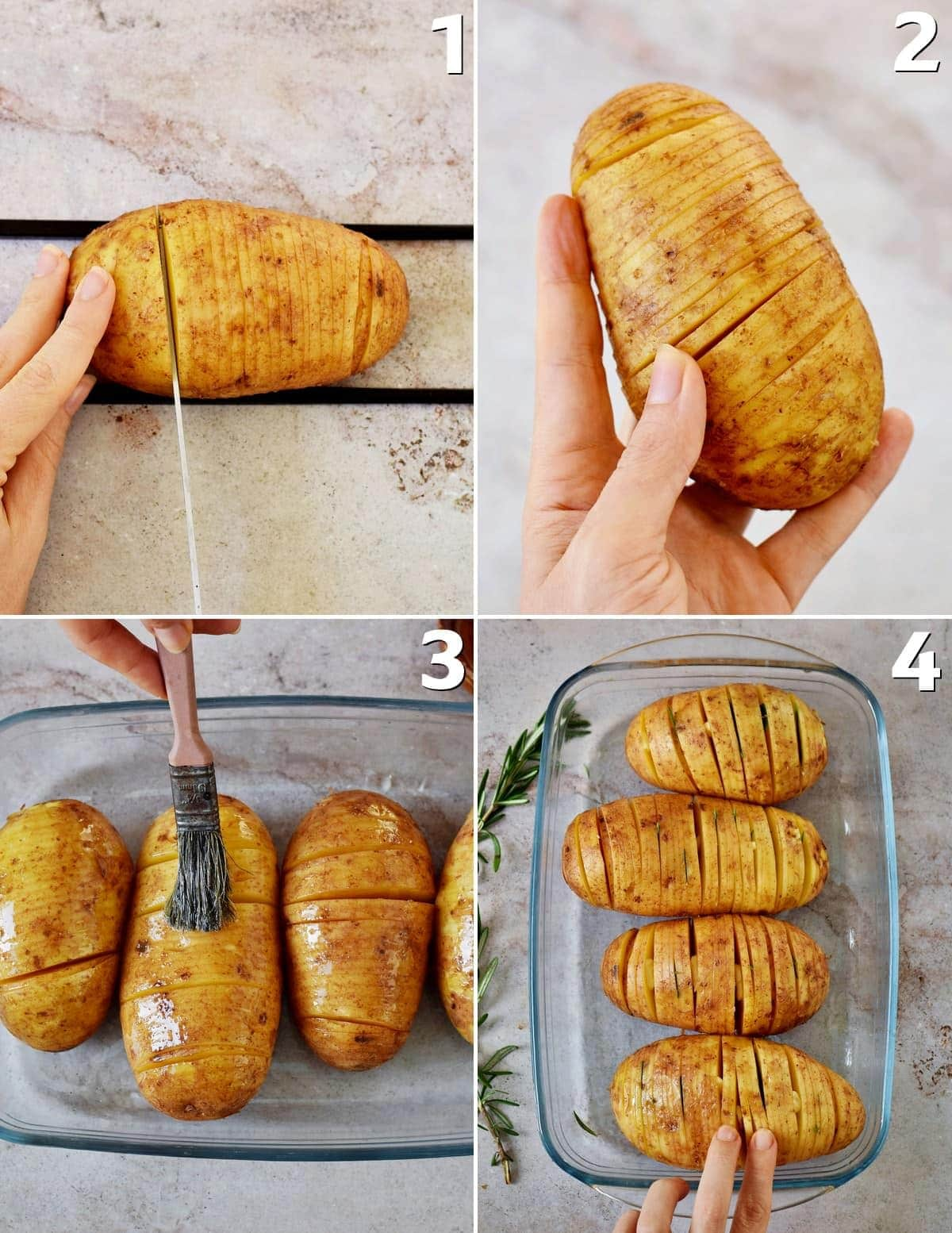 how to slice hasselback potatoes