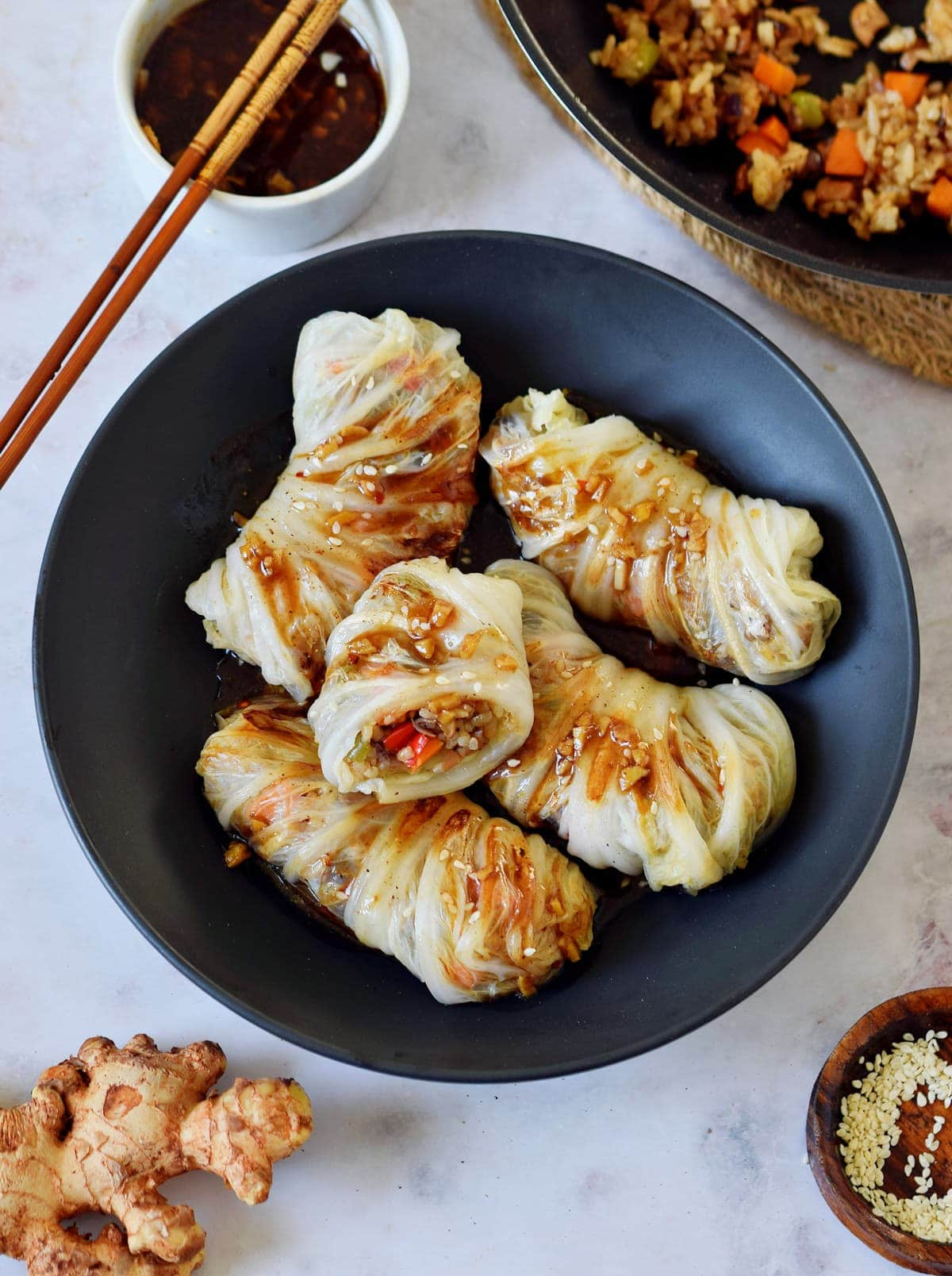 Vegan Cabbage Rolls Asian Inspired Wraps Elavegan