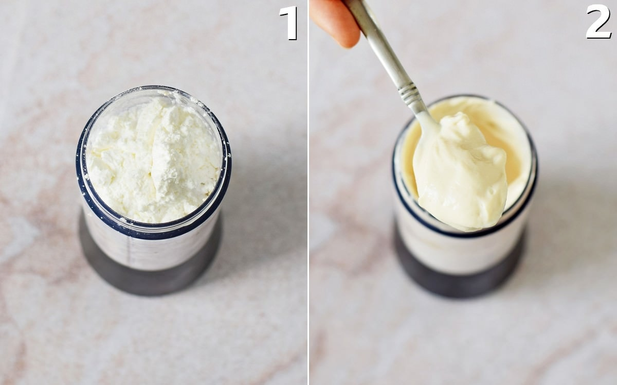 2 step-by-step photos how to make vegan cheesecake filling