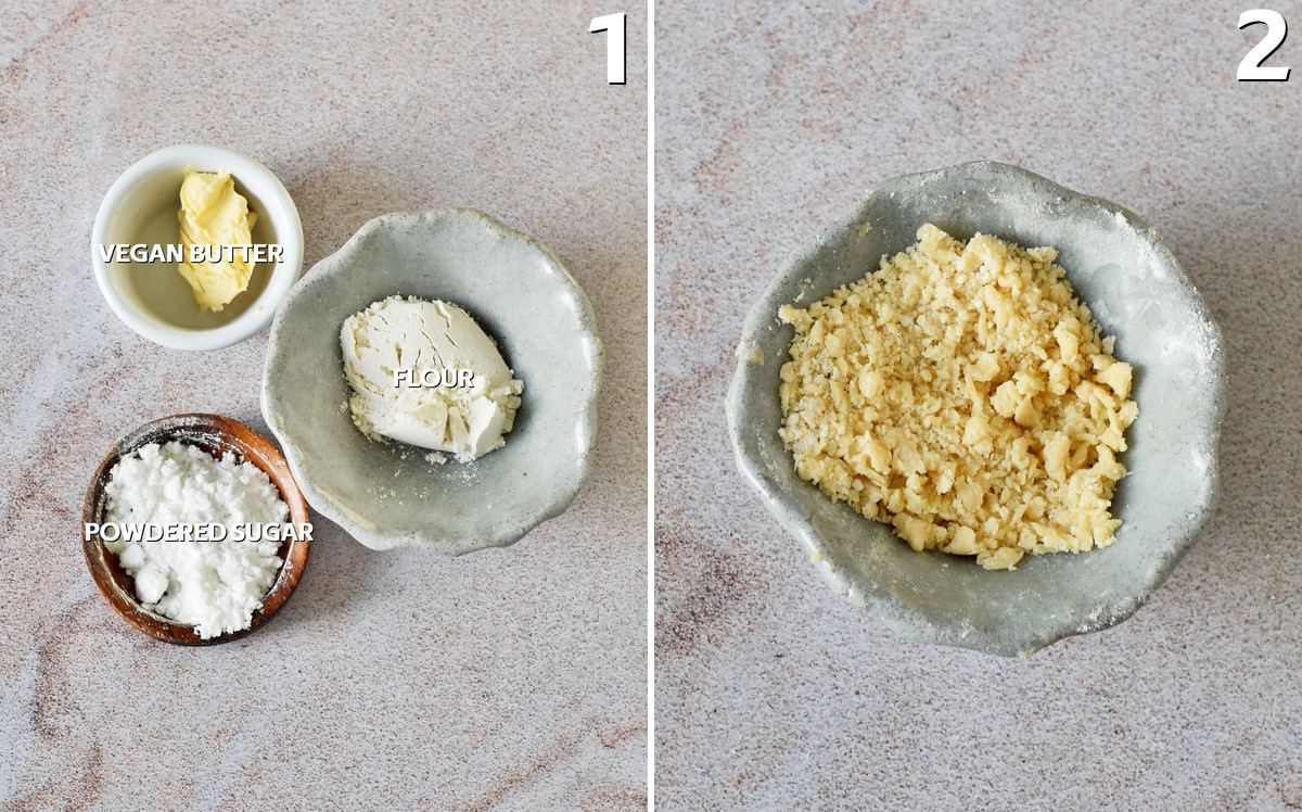 2 step-by-step photos how to make vegan crumble