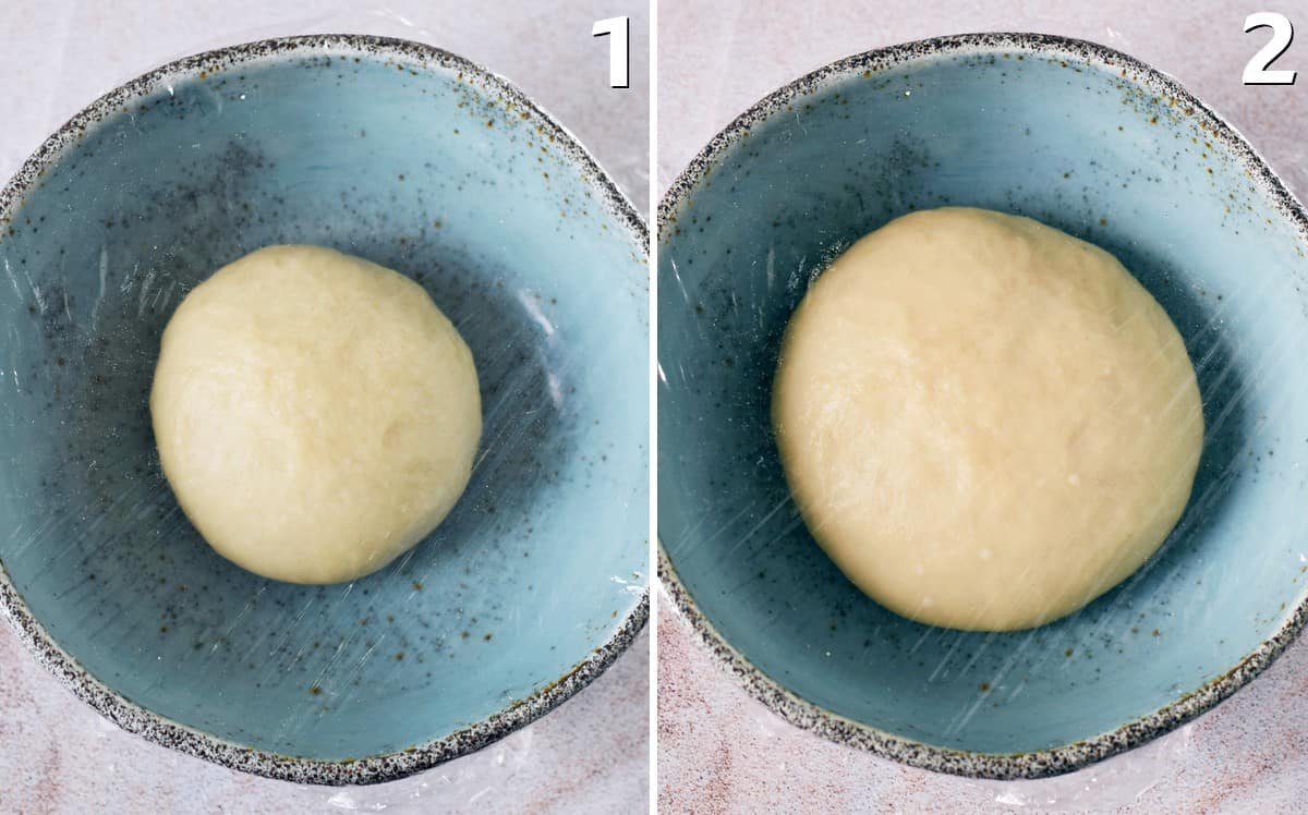 2 step-by-step photos of sweet yeast dough before and after rising