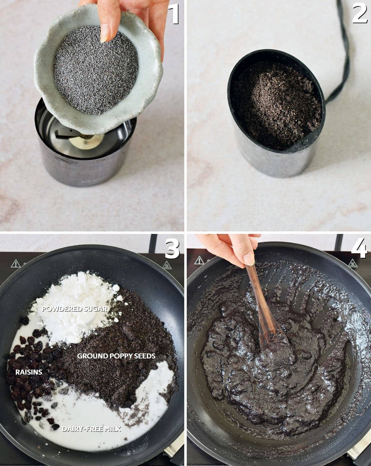 4 step-by-step photos how to make a poppy seed filling