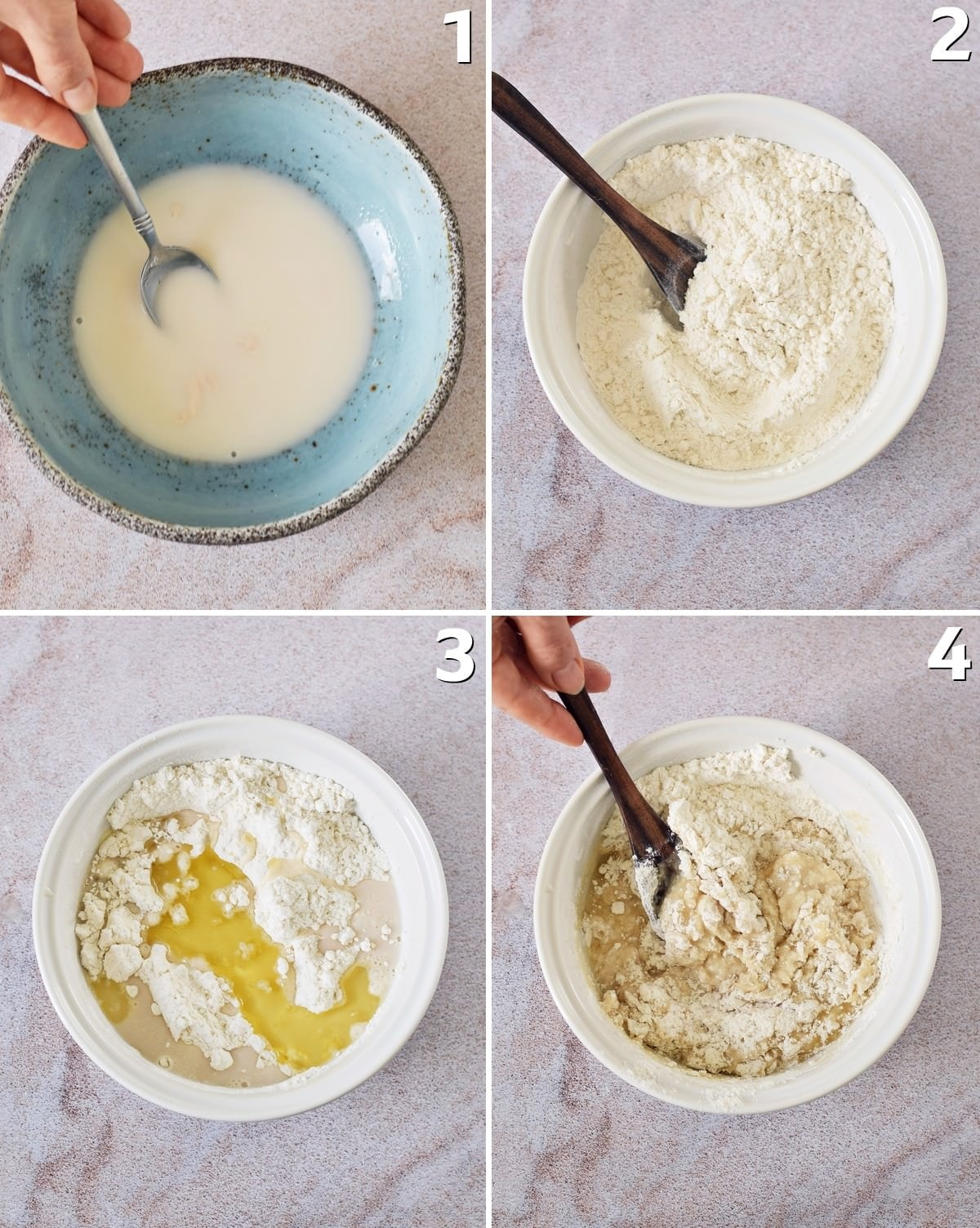 4 step-by-step photos how to make yeast dough