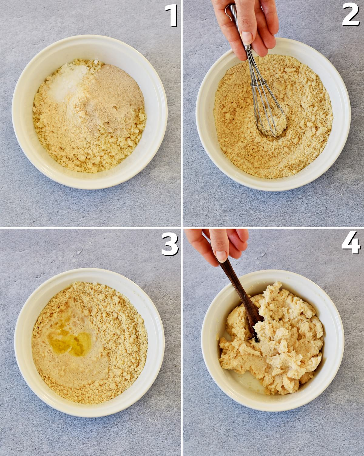 4 step-by-step photos of how to make almond flour tortilla dough