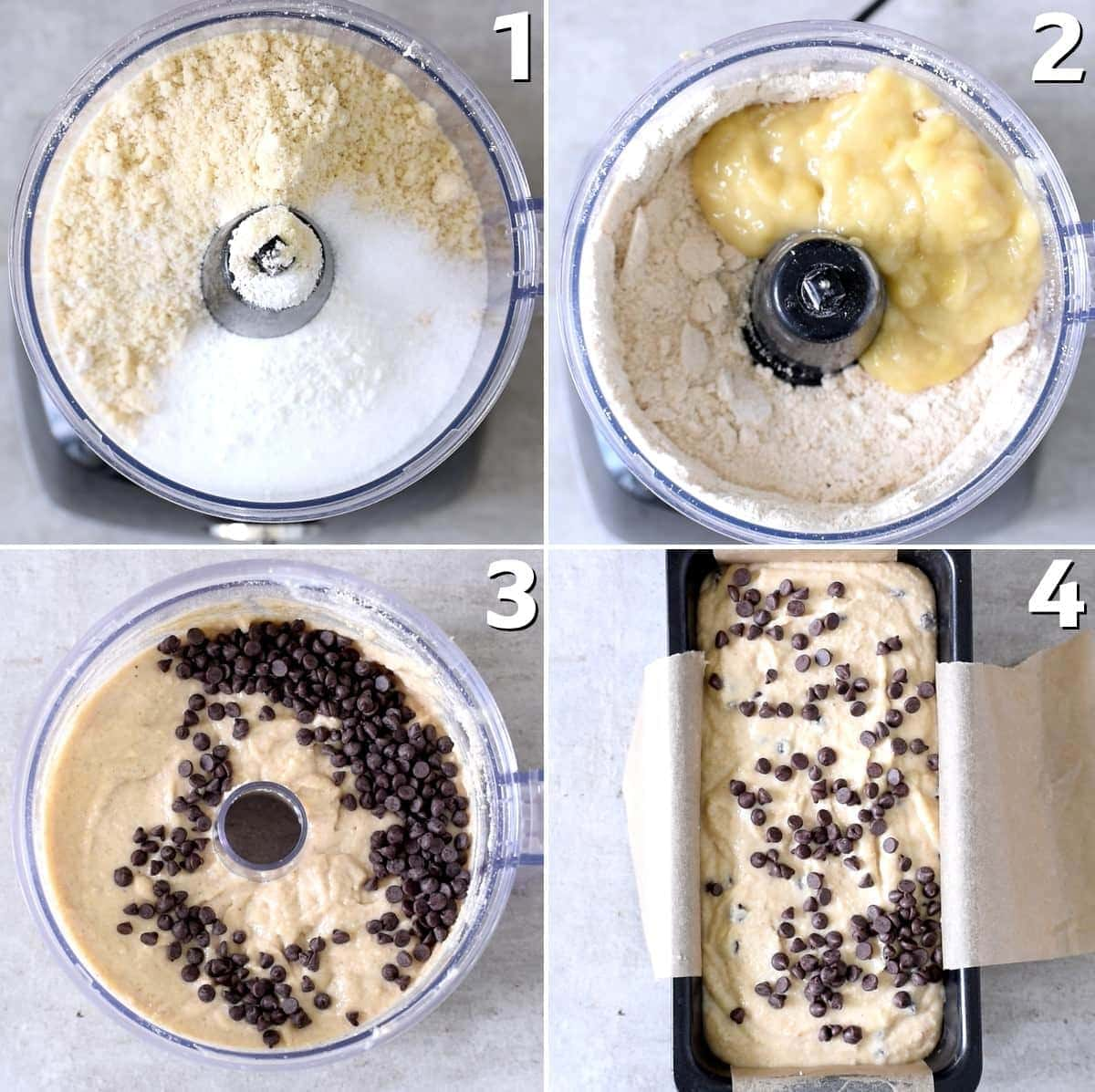 4 step-by-step photos showig how to make banana bread with chocolate chips in a food processor