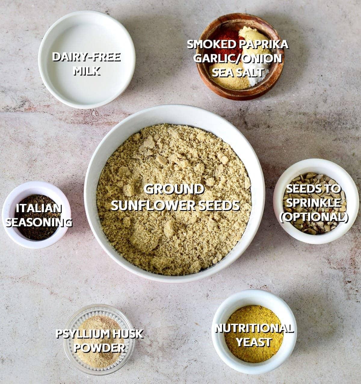 Ingredients for gluten-fee keto crackers