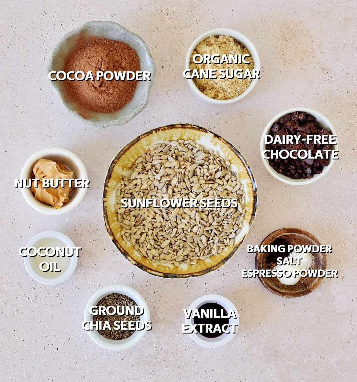 Ingredients for vegan double chocolate cookies