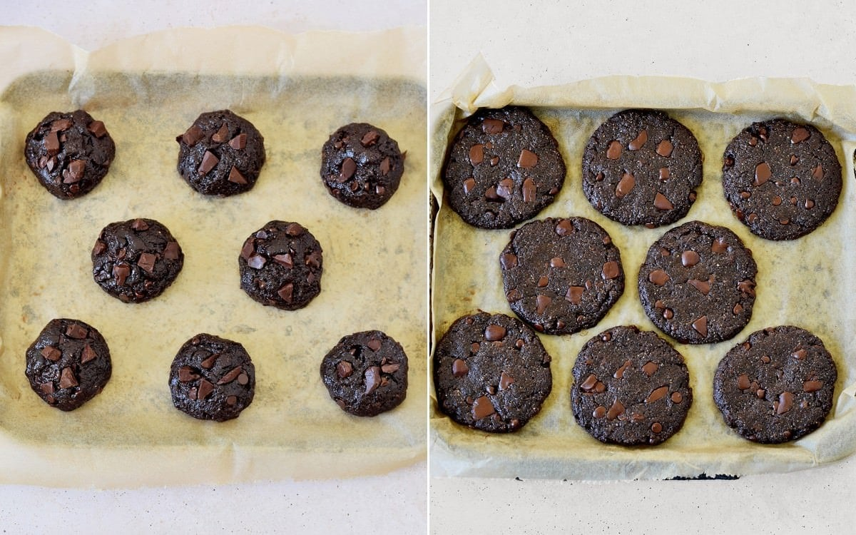 chocolate cookies before and after baking