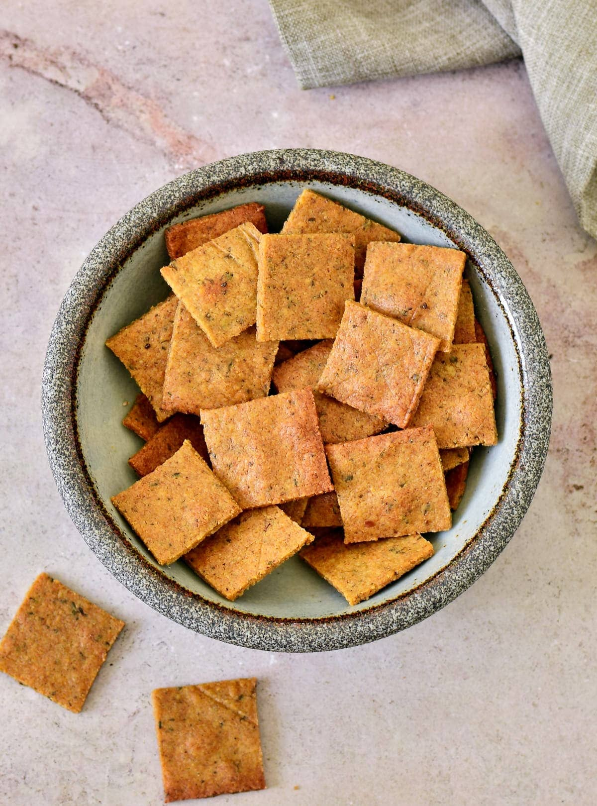 gluten-free low-carb crackers in a bowl