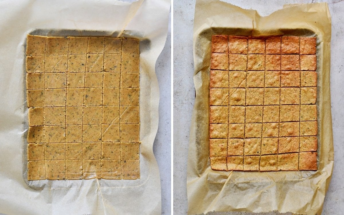 healthy low-carb crackers before and after baking