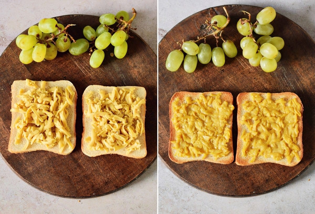 homemade dairy-free cheddar melted on toast before and after